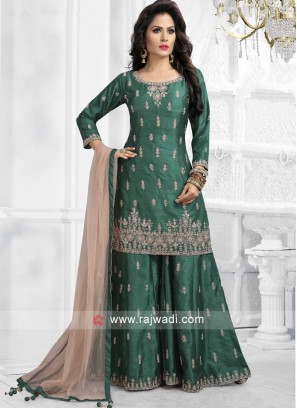 Green Embroidered Gharara Suit