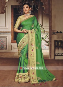 Green Embroidered Kajal Aggarwal Saree