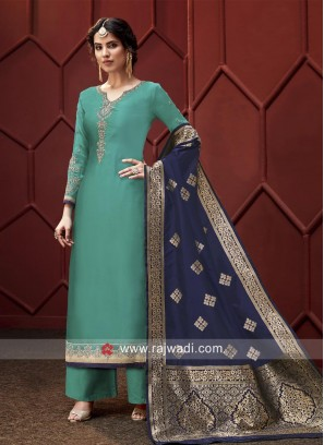 Green Embroidered Palazzo Suit with Blue Dupatta