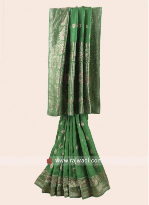 Green Embroidered Saree with Border