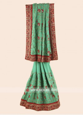 Green Embroidered Wedding Saree