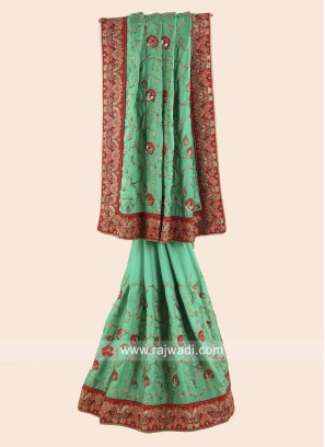 Green Embroidered Wedding Saree
