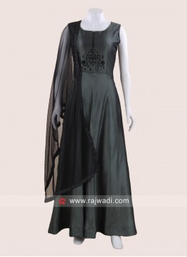 Green Floor Length Anarkali Gown with Dupatta