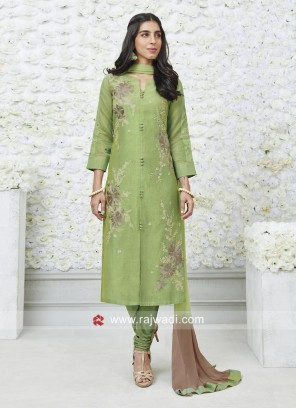 Green Flower Embroidered Salwar Suit