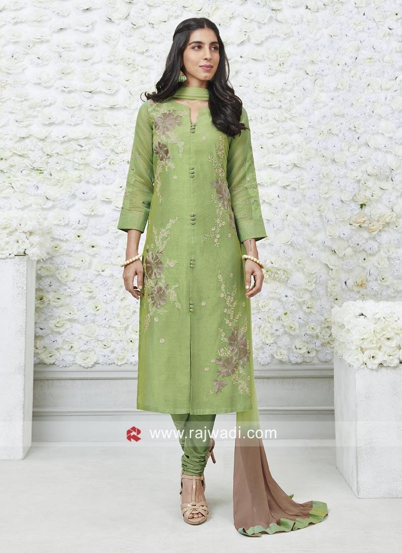 Green Flower Embroidered Salwar Suit