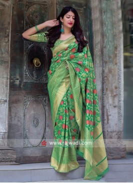 Green Flower Weaving Saree