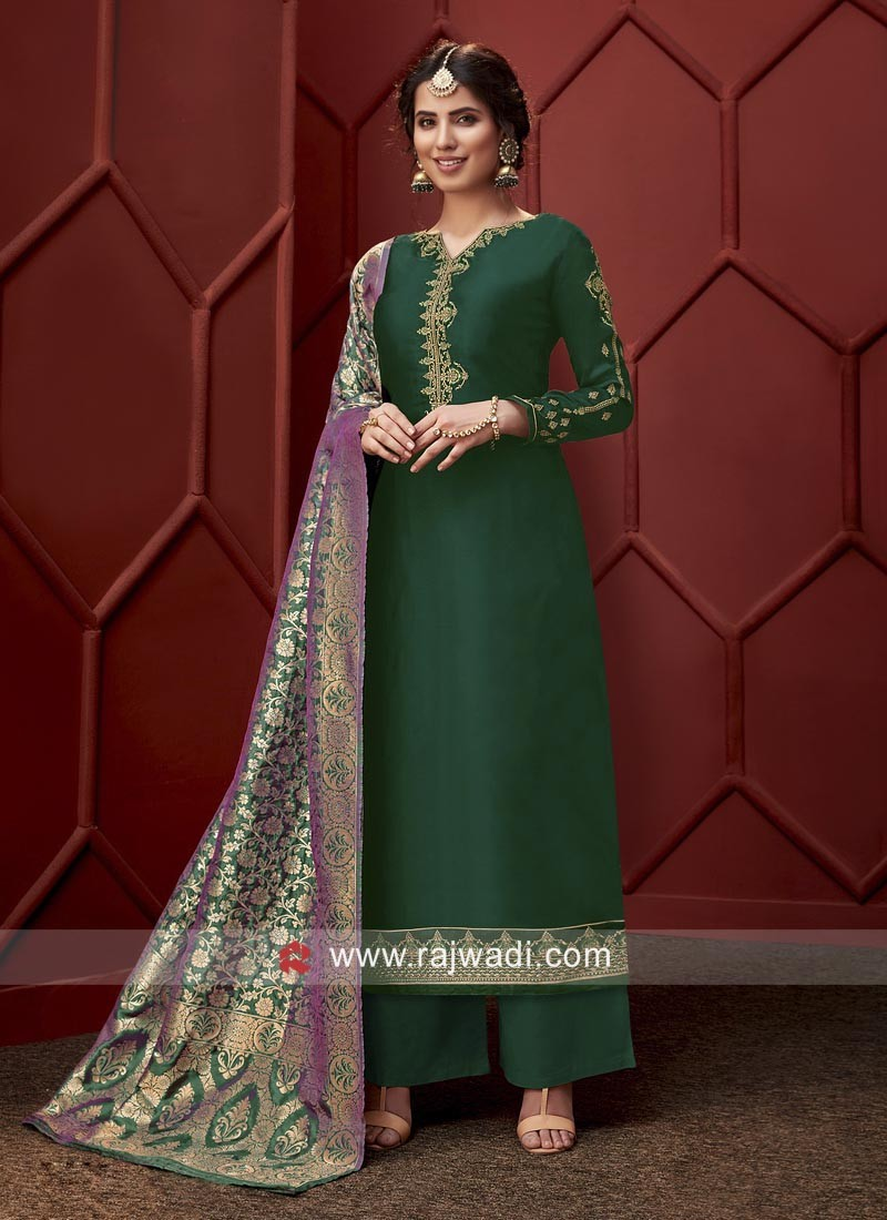 Green Georgette Satin Palazzo Suit