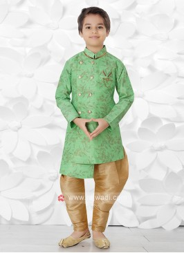 Green & Golden Indo Western For Boys