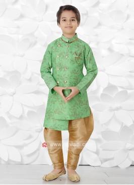 Green & Golden Indo Western For Boys