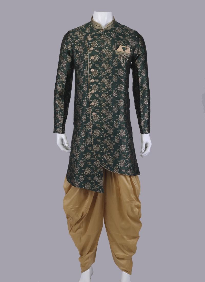 Green & Golden Indo-Western For Men