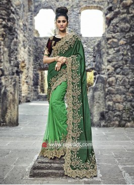 Green Half Saree with Cut Work Border
