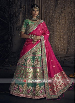 Green Heavy Bridal Lehenga Set with Dupatta