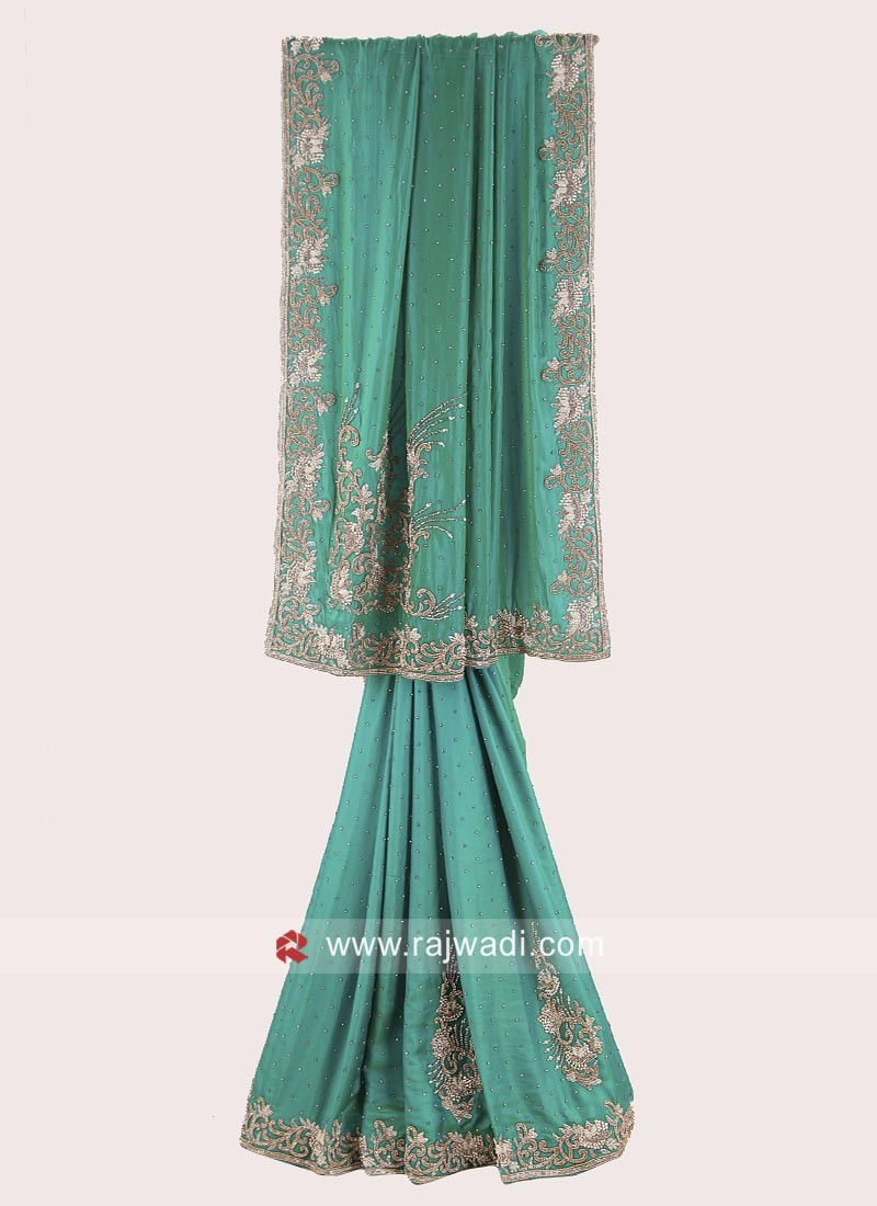 Green Heavy Embroidered Saree