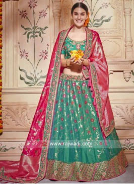 Green Heavy Lehenga Set with Dupatta