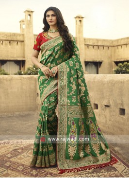 Green Heavy Saree with Contarst Blouse