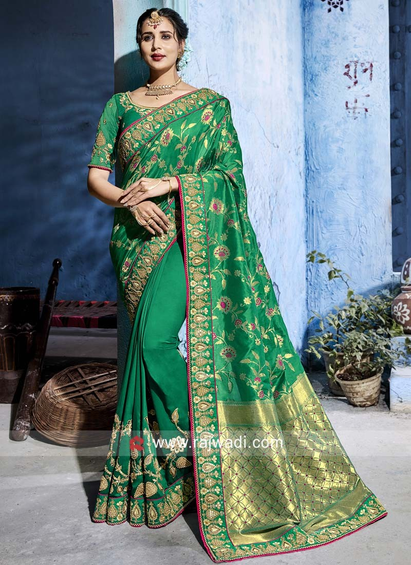Green Heavy Work Saree