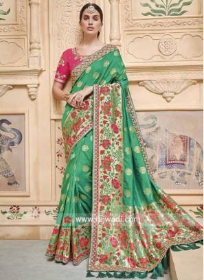 Green Heavy Work Wedding Saree