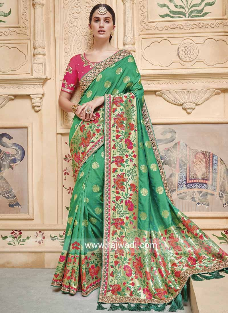 Green Heavy Work Wedding Saree