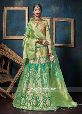 Green Jacquard Silk Lehenga Choli