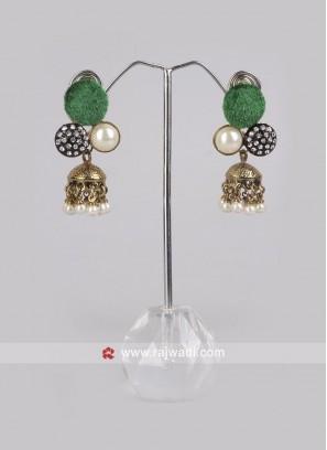 Green Jhumki Earrings with Push Back Closure