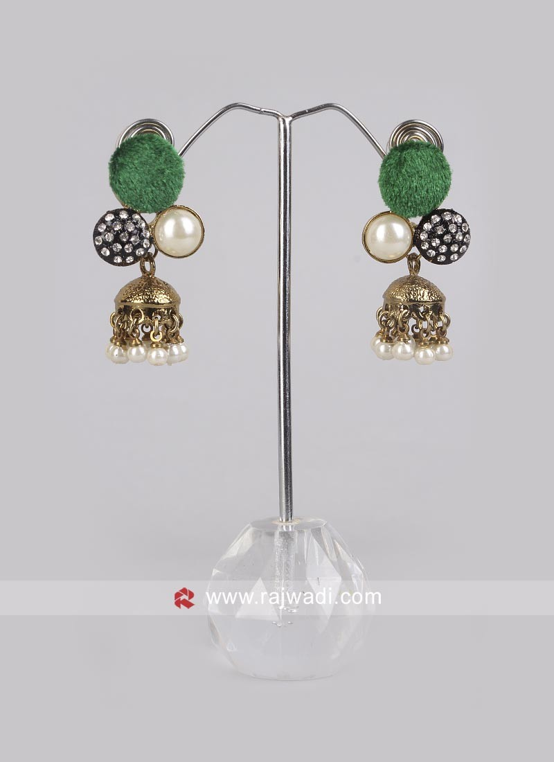 Green Jhumki Earrings with Push Back Closure