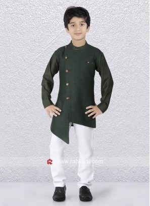 Green Layered Kurta Pajama