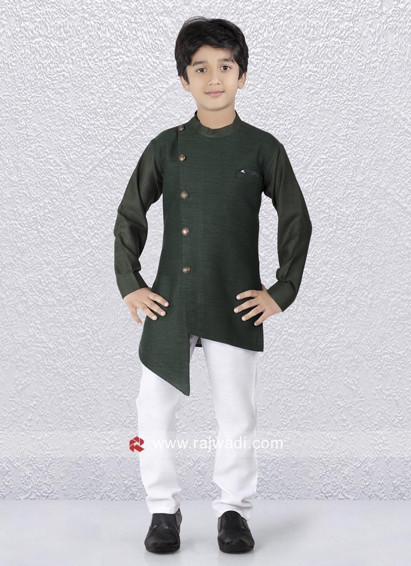 Green Layered Kurta Pajama