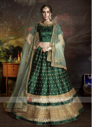 Green Lehenga Choli with Light Green Dupatta