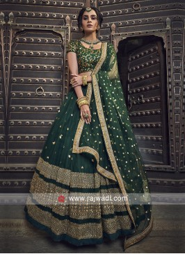 Green Lehenga Choli With Matching Dupatta