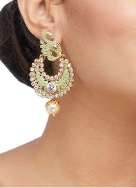 Green Meenakari Chandbali Earring Set