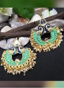 Turquoise Color Meenakari Chandbali Earring