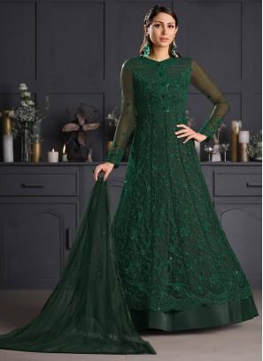 Green Net Engagement Bollywood Salwar Kameez