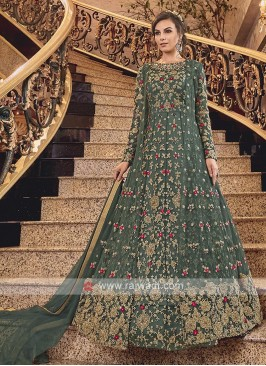 Green Net Heavy Anarkali Suit with Dupatta