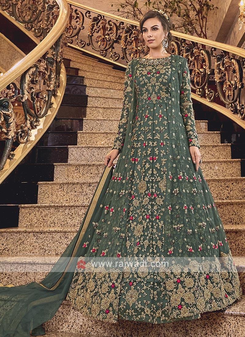 Green Net Heavy Anarkali Suit with Dupatta