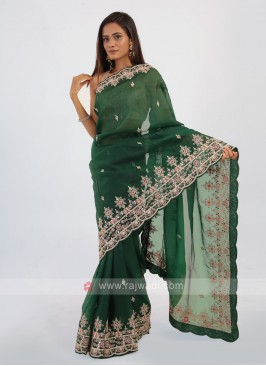 Green Net Saree With Red Blouse