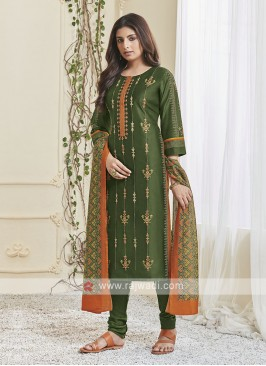 Shagufta Green & Orange Churidar Salwar Suit