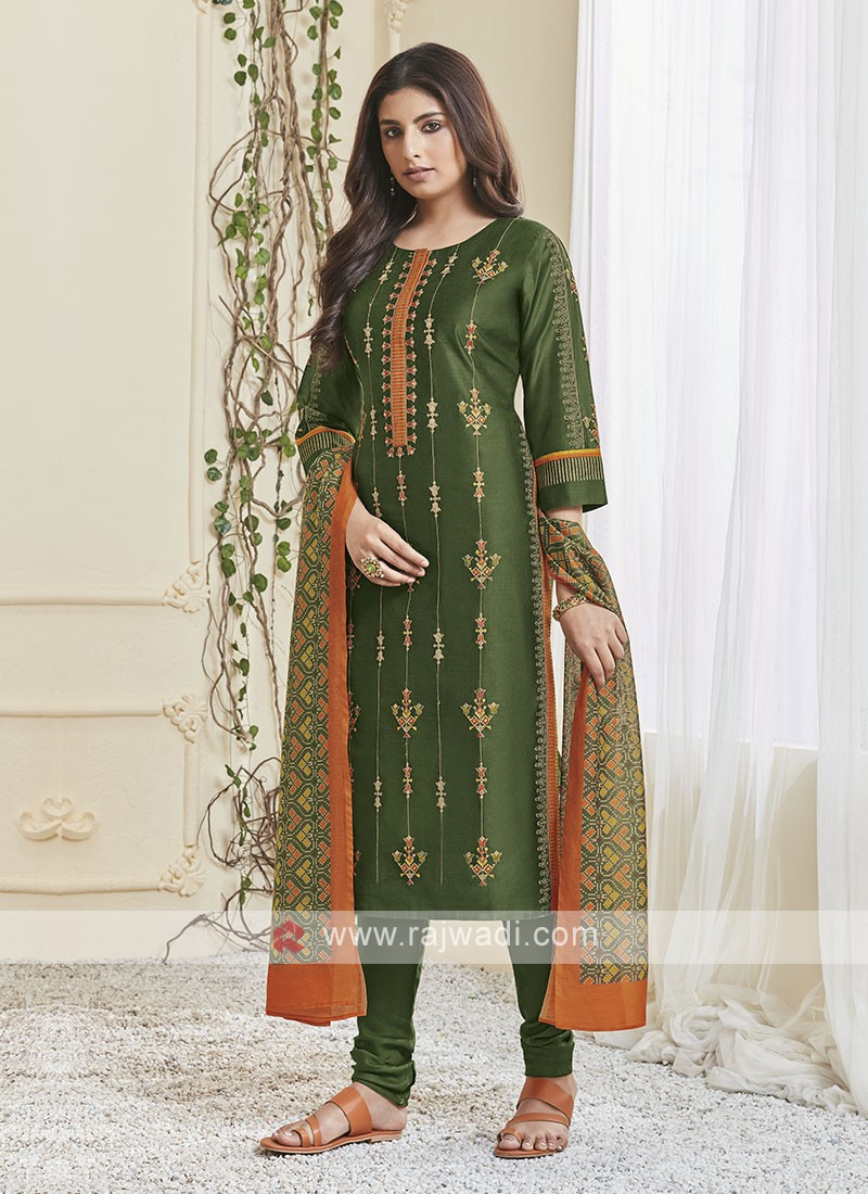 Shagufta Green & Orange Churidar Salwar Suit