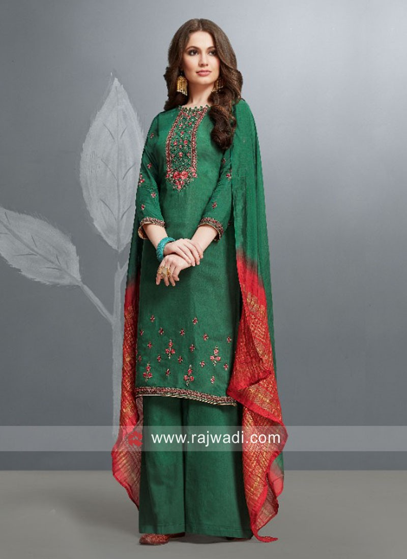 Green Party Wear Palazzo Suit