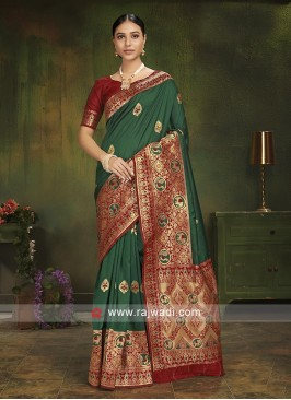 Green Patola Silk Saree With Blouse