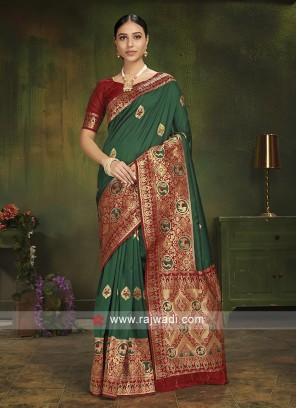 Green Patola Silk Saree With Blouse