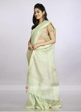 Pista green color casual saree