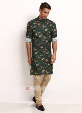 Green Printed Kurta Pajama