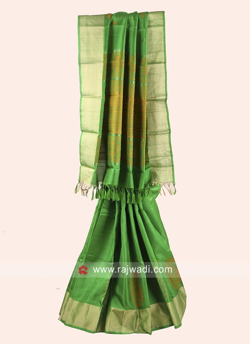 Green Pure Silk Saree with Blue Blouse