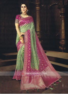 Green & Rani Shaded Saree
