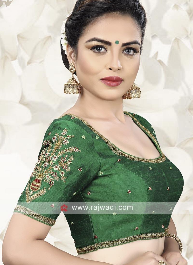 Green Raw Silk Ready Choli