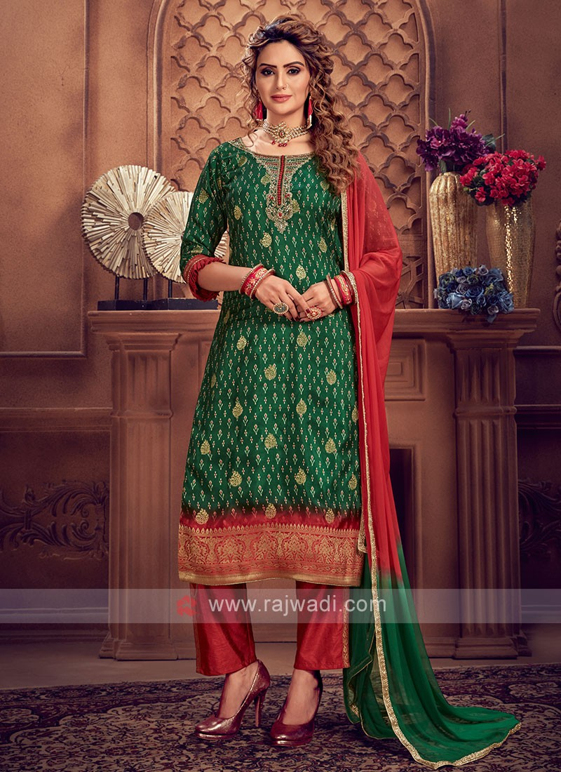 Green & Red Color Pant Style Suit
