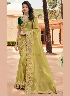 Green Resham Ceremonial Designer Saree