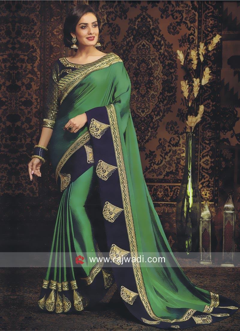 Green Saree with Patch Work Border