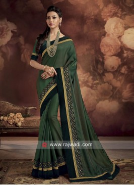 Green Saree with Velvet Border