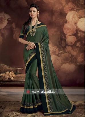 Green Saree with Velvet Border